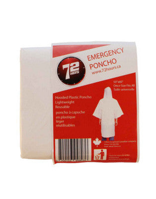 Emergency Hooded Rain Poncho - EarthquakeKit.ca