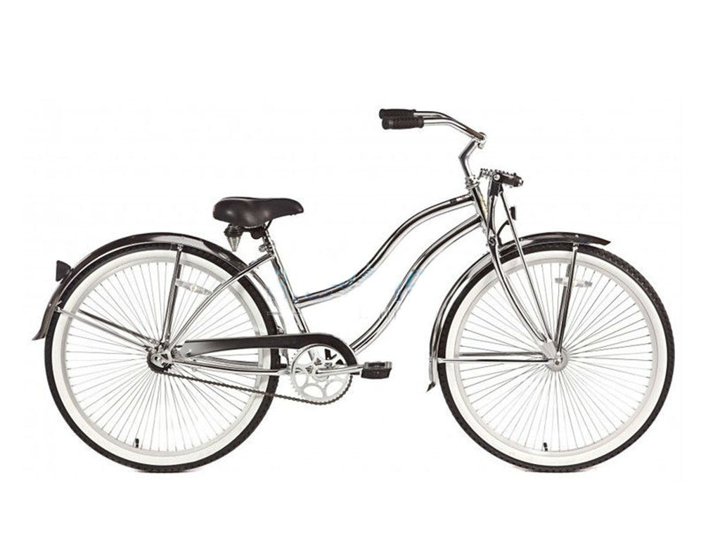 "Micargi Cougar-GTS 26"" Beach Cruiser Single-Speed Bike (Chrome) Womens (Step-through) - kookabike - 1"