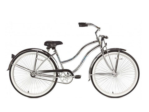 "Micargi Cougar-GTS 26"" Beach Cruiser Single-Speed Bike (Chrome) Womens (Step-through)"