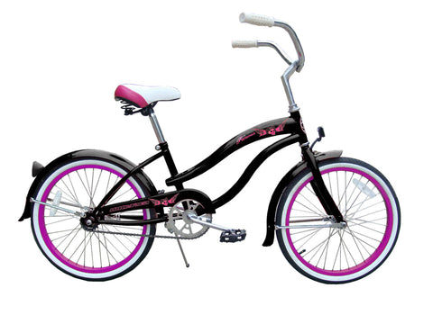 "Micargi Famous 20"" Kid's Beach Cruiser (Black/Hot PinkRims)Girls/Boys"
