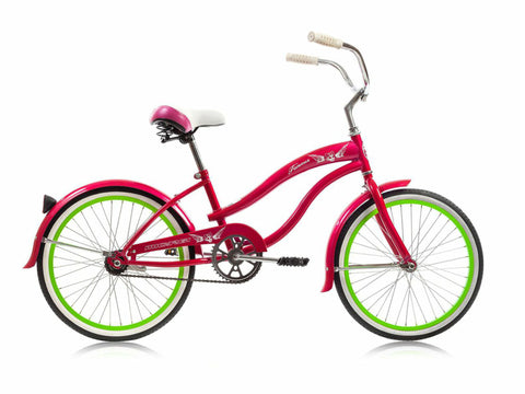 "Micargi Famous 20"" Kid's Beach Cruiser (Hot Pink/ Green Rims)Girls/Boys"