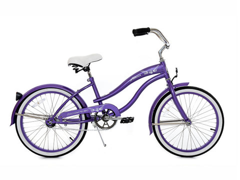 "Micargi Famous 20"" Kid's Beach Cruiser (Purple/ Purple Rims)Girls/Boys"