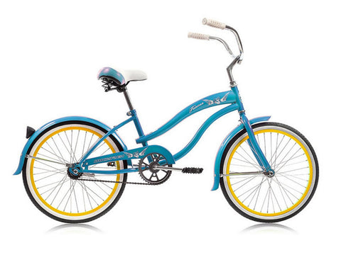 "Micargi Famous 20"" Kid's Beach Cruiser (Teal Blue/ Yellow Rims)Girls/Boys"