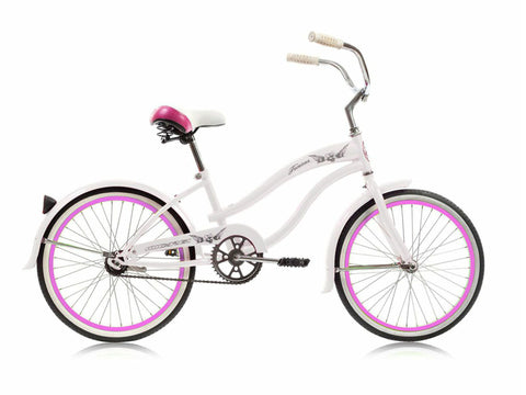 "Micargi Famous 20"" Kid's Beach Cruiser (White/Pink Rims)Girls/Boys"
