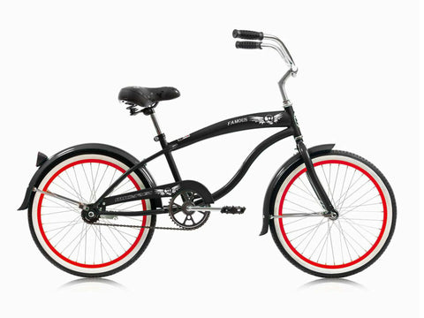 "Micargi Famous 20"" Kid's Beach Cruiser (Black/Red Rims)Boys/Girls"
