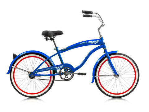 "Micargi Famous 20"" Kid's Beach Cruiser (Blue/Red Rims)Boys/Girls"