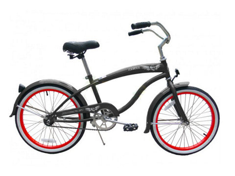 "Micargi Famous 20"" Kid's Beach Cruiser (Flat Mocha/ Red Rims)Boys/Girls"