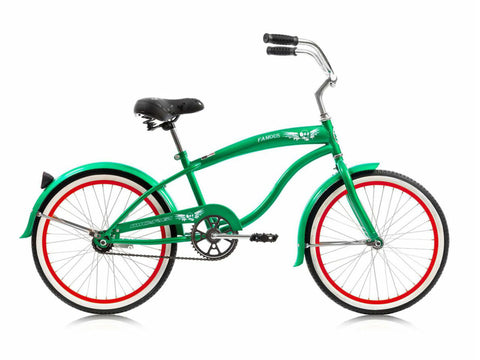 "Micargi Famous 20"" Kid's Beach Cruiser (Green/Red Rims)Boys/Girls"