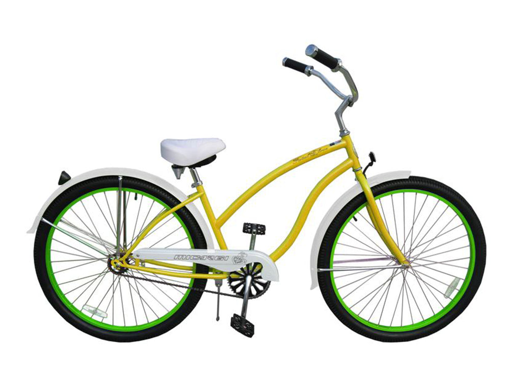 "Micargi Fatal Love 29"" Beach Cruiser Single-Speed Bike (Yellow/Green Rims) - kookabike - 1"