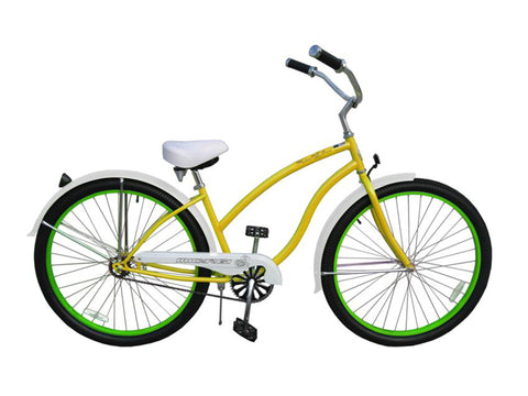 "Micargi Fatal Love 29"" Beach Cruiser Single-Speed Bike (Yellow/Green Rims)"