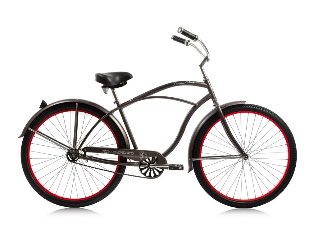 "Micargi Fatal Love 29"" Beach Cruiser Single-Speed Bike (Mocha Metallic/Red Rims) - kookabike - 1"