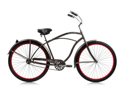 "Micargi Fatal Love 29"" Beach Cruiser Single-Speed Bike (Mocha Metallic/Red Rims)"
