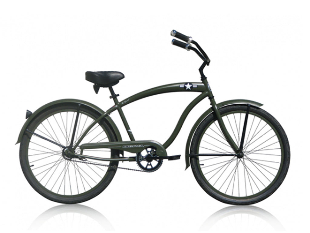 "Micargi General Single-Speed 26"" Beach Cruiser-Army Green (of course) - kookabike - 1"