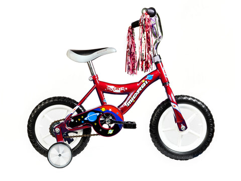 "Micargi MBR 12"" Kids' Bike (Red) w/ removable training wheels"