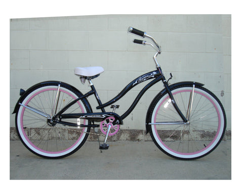 "Micargi 26"" Rover GX Beach Cruiser Single-Speed Bike(Black/Pink)Womens"