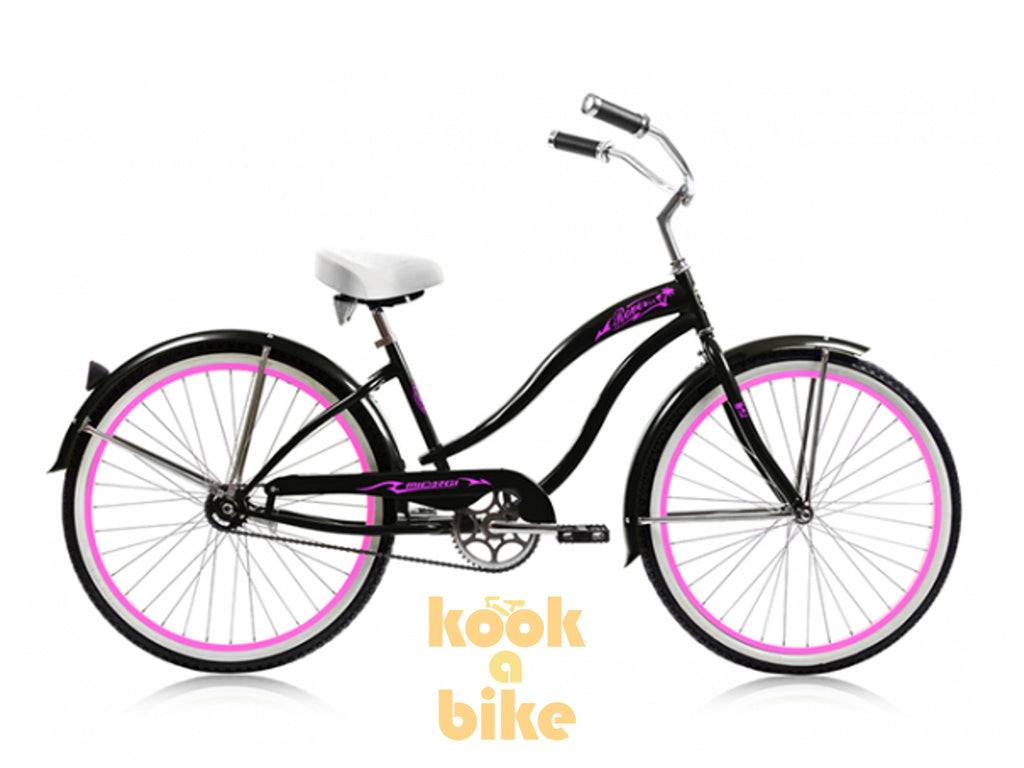 "Micargi 26"" Rover GX Beach Cruiser Single-Speed Bike(Black/Pink)Womens - kookabike - 1"