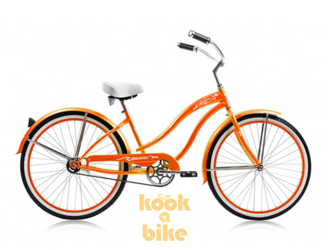 "Micargi 26"" Rover GX Beach Cruiser Single-Speed Bike(Orange)Womens"