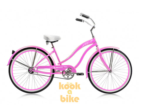 "Micargi 26"" Rover GX Beach Cruiser Single-Speed Bike(Pink)Womens"