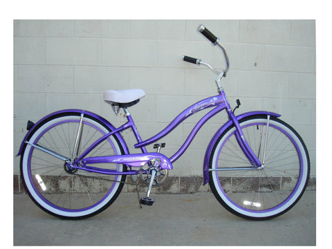 "Micargi 26"" Rover GX Beach Cruiser Single-Speed Bike(Purple)Womens"