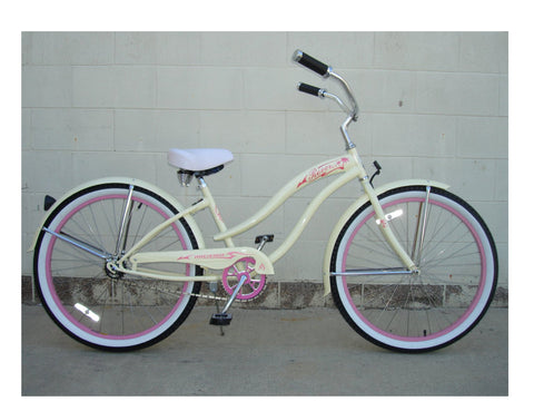 "Micargi 26"" Rover GX Beach Cruiser Single-Speed Bike(Vanilla)Womens"
