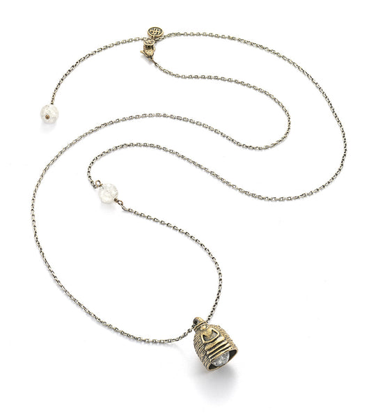 Buddha Protection Bell Necklace with Clear Quartz