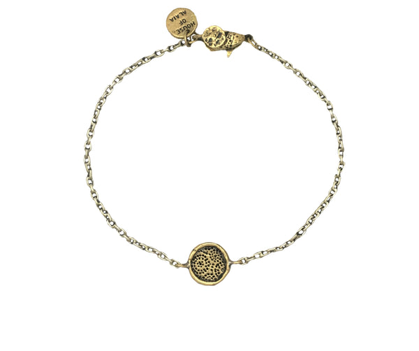 African Fabric Strength and Courage Mini Protection Bracelet in Bronze
