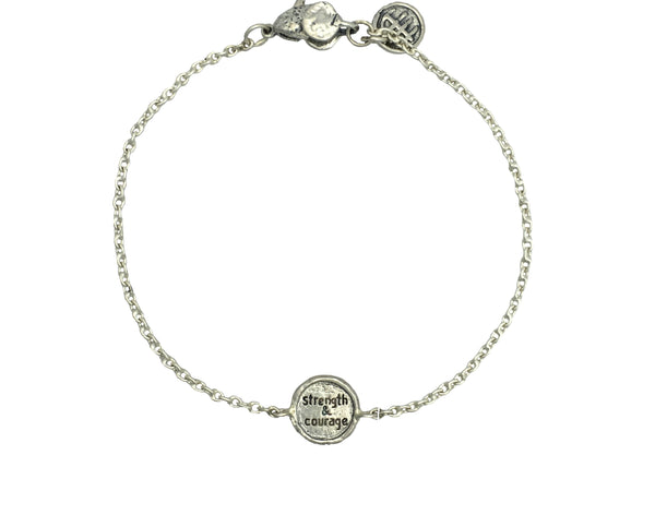 STRENGTH & COURAGE African FabricMini Protection Bracelet in Sterling Silver