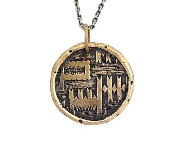 PEACE Traveller's Coin Necklace in Bronze