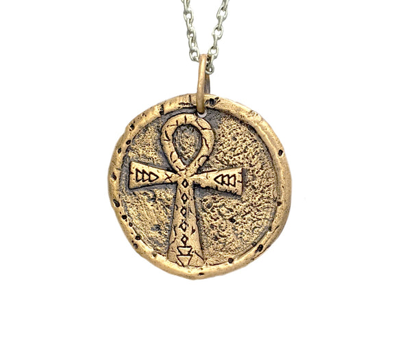 PROTECTION & LIFE Traveller's Coin Necklace in Bronze