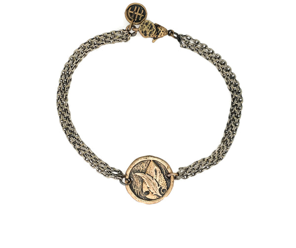 Adventure Arrowhead and Feather Protection Bracelet in Bronze
