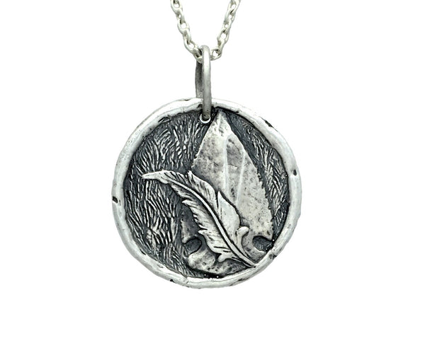 ADVENTURE & FREEDOM Arrowhead/Feather Traveller's Coin Necklace in Sterling Silver