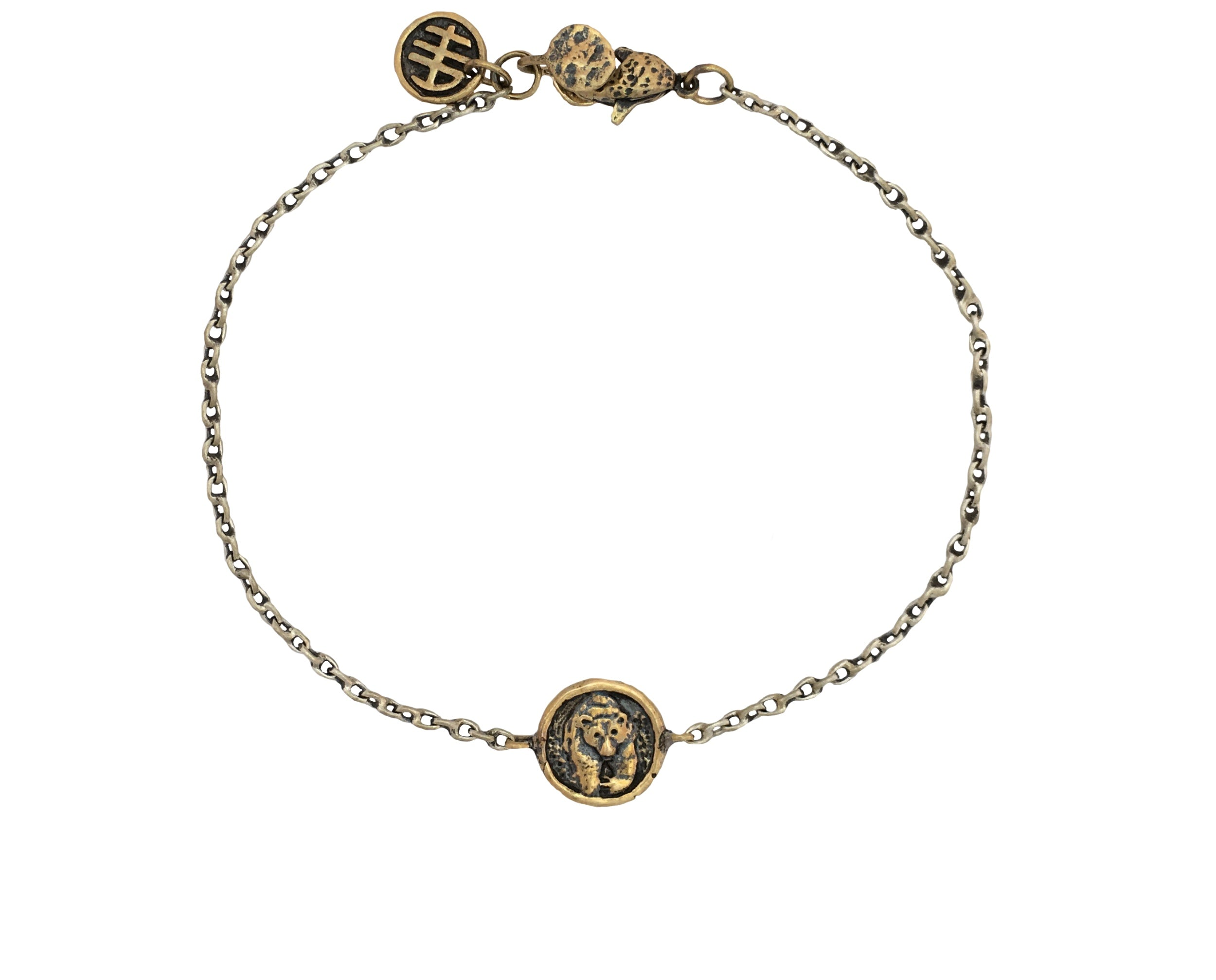 Bear Mini Coin Bracelet | Bronze and Sterling Silver Jewelry Handcrafted