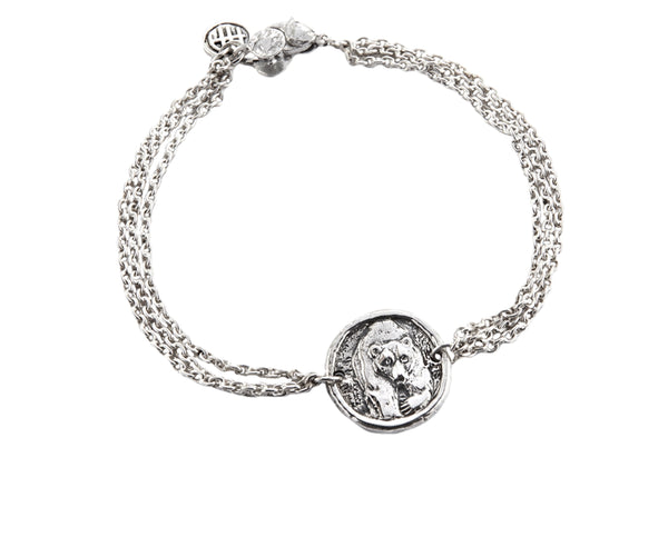 Fearlessness Bear Protection Bracelet in Sterling Silver