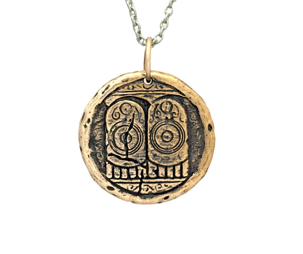 GROUNDING & COMPASSION Buddha's Footprints Traveller's Coin Necklace in Bronze