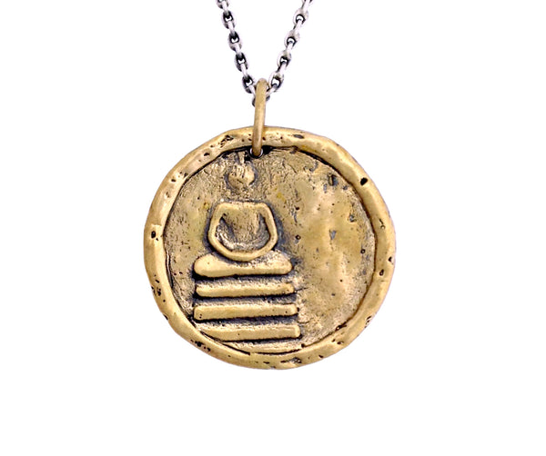 INNER PEACE & COMPASSION Buddha Traveller's Coin Necklace in Bronze