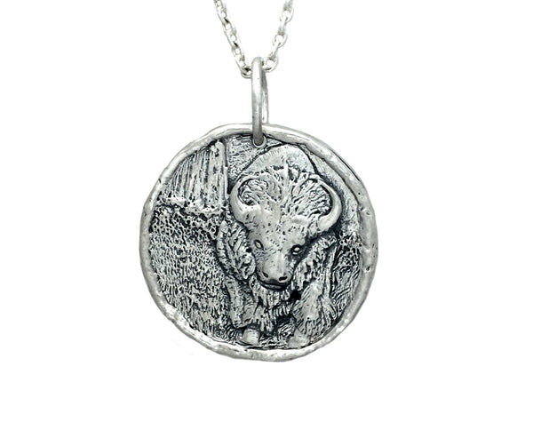 GRATITUDE & ABUNDANCE Buffalo Traveller's Coin Necklace in Sterling Silver