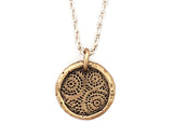 Strength and Courage Small Coin Necklace in Bronze