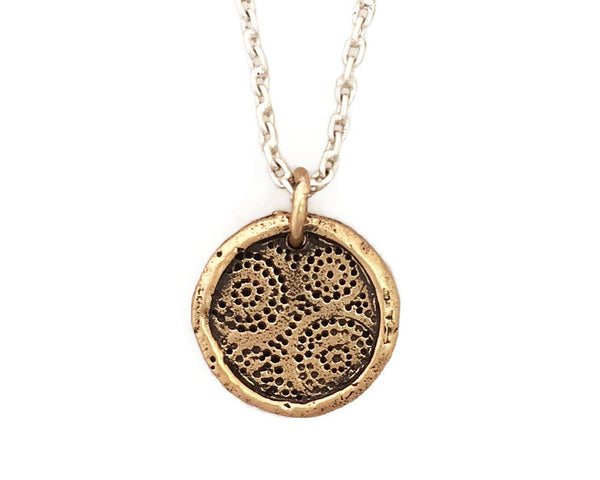 STRENGTH & COURAGE Africa Small Traveller's Coin Necklace in Bronze