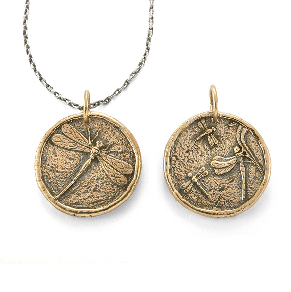 Dragonfly Traveller's Coin Necklace in Bronze