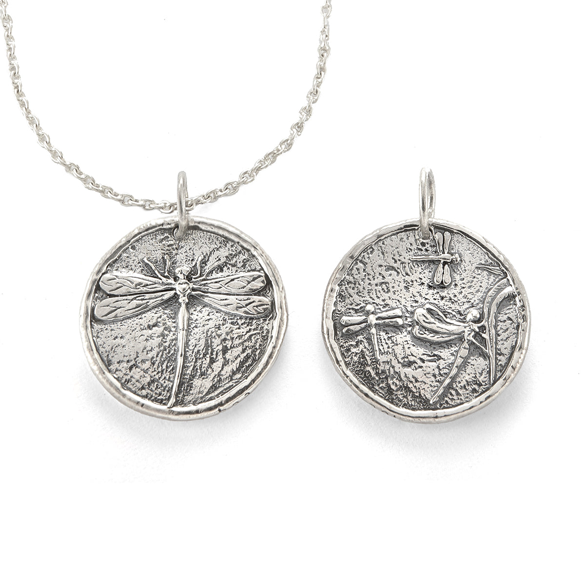 Dragonfly Traveller's Coin Necklace in Sterling Silver