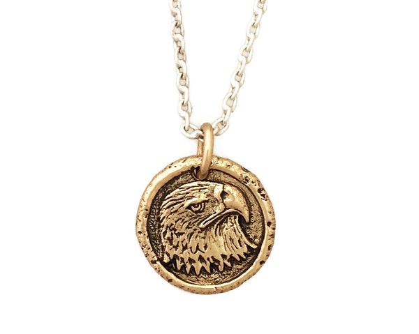 FREEDOM Eagle Small Traveller's Coin Necklace in Bronze