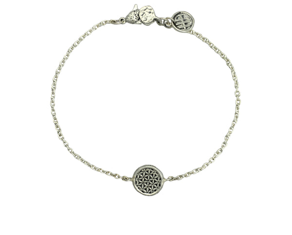 Creativity Flower of Life Mini Protection Bracelet in Sterling Silver