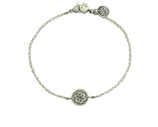 Bracelet - Flower of Life and Seed of Life Traveller's Coin Protection Bracelet | Handcrafted Jewelry | Made in Bali