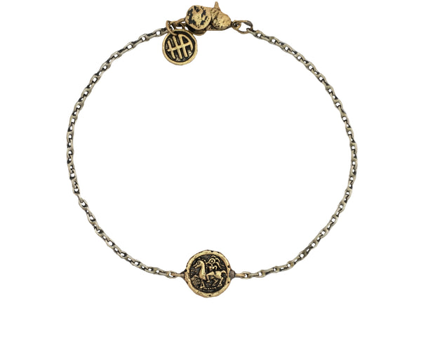 Dare to Life Your Dreams Girl on Horse Mini Protection Bracelet in Bronze