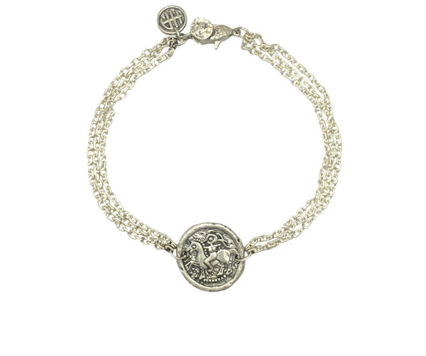 Girl on Horse Protection Bracelet in Sterling Silver