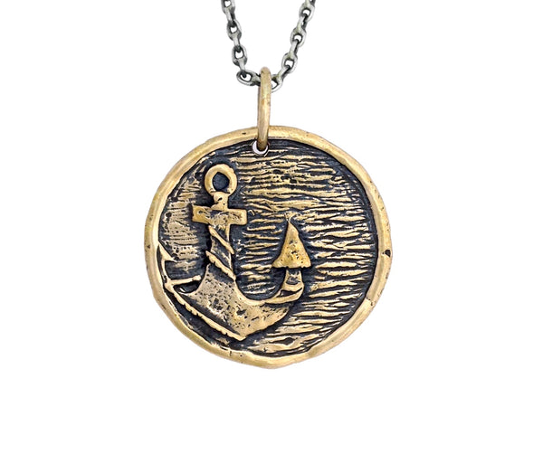 GROUNDING Anchor Traveller's Coin Necklace in Bronze