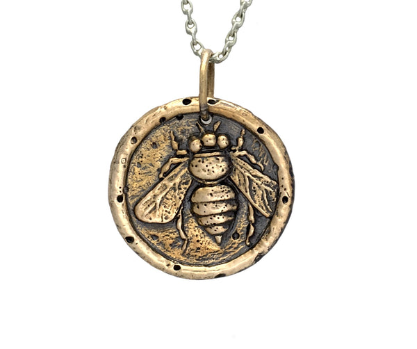 COMMUNITY & CREATIVITY Honey Bee Traveller's Coin Necklace in Bronze