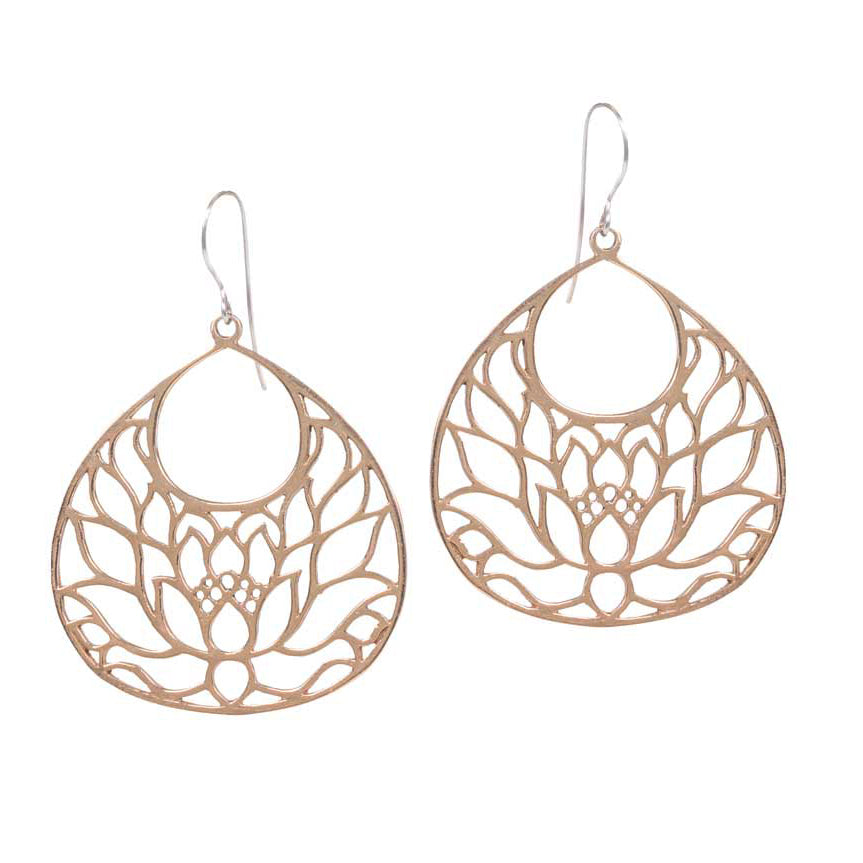 Large Lotus Earrings in Bronze | Handcrafted Jewelry | Made in Bali