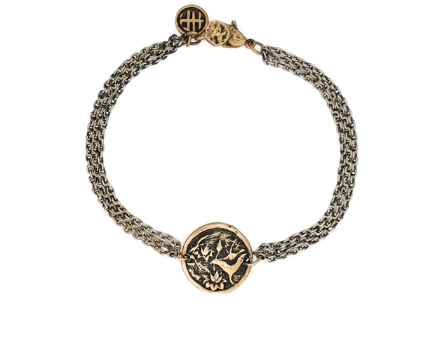 Peace Lotus Protection Bracelet in Bronze