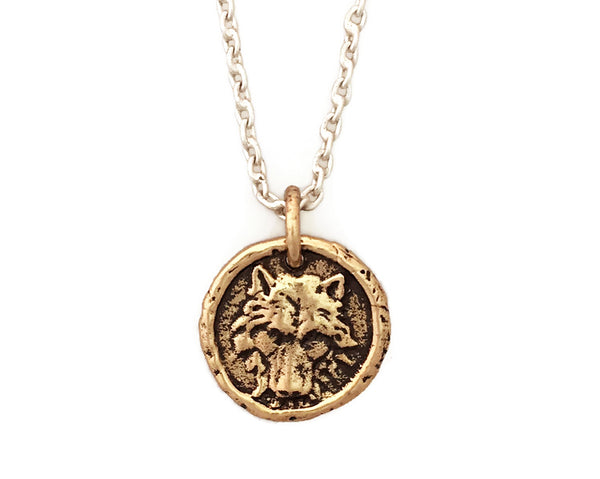 PERSONAL POWER Wolf Small Traveller's Coin Necklace in Bronze